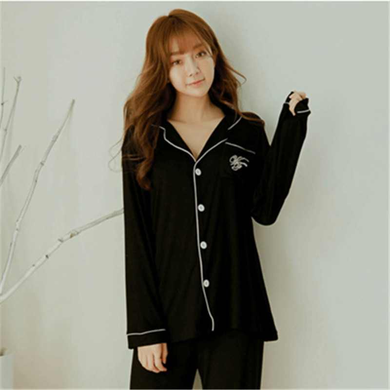 Victoria's Secret Celebrity Style High Quality Cotton Single Women's Long-Sleeve Simple Pajamas Suit Fashion Casual-Nursing Home