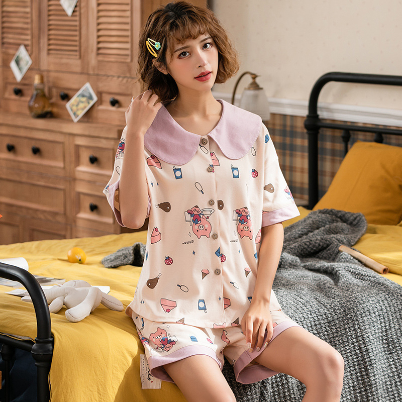 Peach Scent Knitted Cotton Women's Cardigan Fold-down Collar Short Sleeve Shorts Two-Piece Casual Pajamas Homewear Set