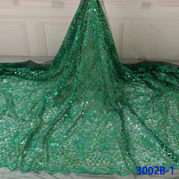 Green Sequins Lace Fabric African Dress Tulle Fabric Designer Fabric High Quality Evening Dress Fabric Nigerian Lace GD3002B-1
