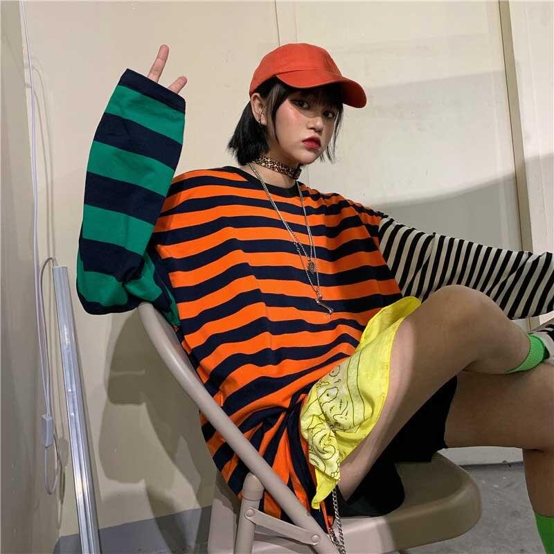 NiceMix Women Patchwork Hip Hop T Shirt Oversized Tee Long Sleeve Shirts Couple Harajuku Streetwear Korean Fashion Tops Clothes