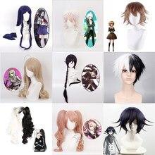 Danganronpa: gatilho happy havoc cosplay perucas mikan tsumiki jogando curto preto roxo longo cabelo reto dia das bruxas 100cm