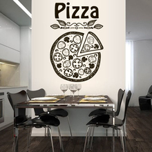 Pizza Pizzeria Italy Food Fashion Pattern Removable Wall Sticker Of Kitchen Vinyl Wall Decals Restaurant Art Poster Murals LW350
