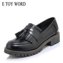 E TOY WORD Women Oxford Shoes Tassels Spring Autumn Slip-on  Patent Leather Shoes Low Heel Sewing Flats Women Shoes Size 42 цена 2017