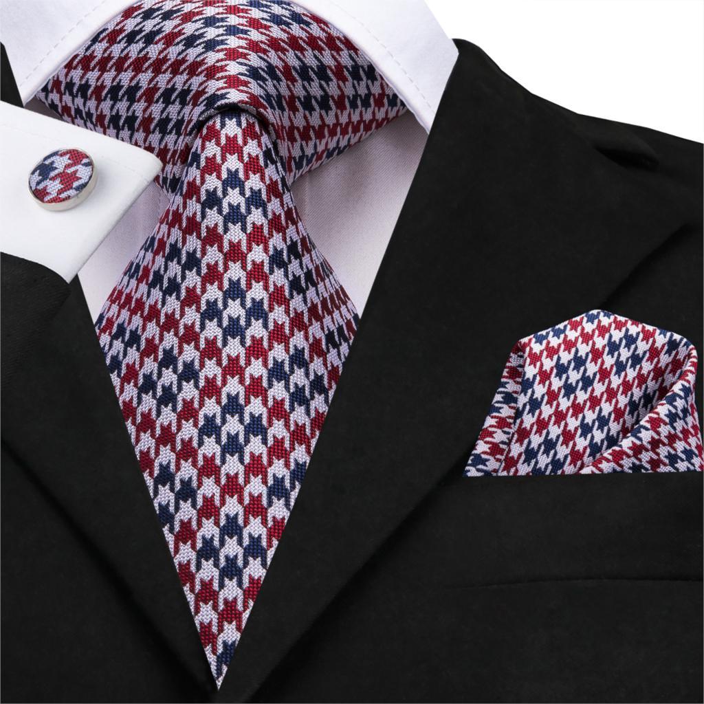 Hi-Tie 100% Silk 20 Styles Ties For Men Novelty Hanky Cufflinks Set Men's Tie Formal Red Cravat For Wedding Business Necktie