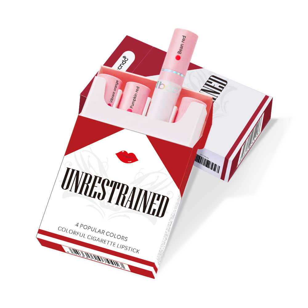 Creative סיגריות שפתון סט 4 צבעים מט לאורך זמן עמיד למים מאט שפתיים מקל צינור עירום אדום שפות איפור