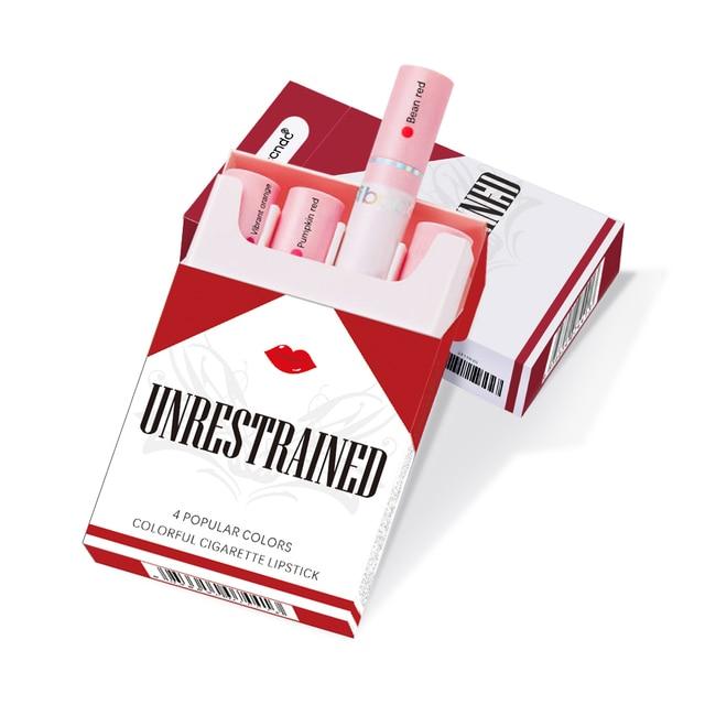 Creative Cigarette Lipstick Set 4 Colors Matte Long Lasting Waterproof Matt Lip Stick Tube Nude Red Lips Makeup 3