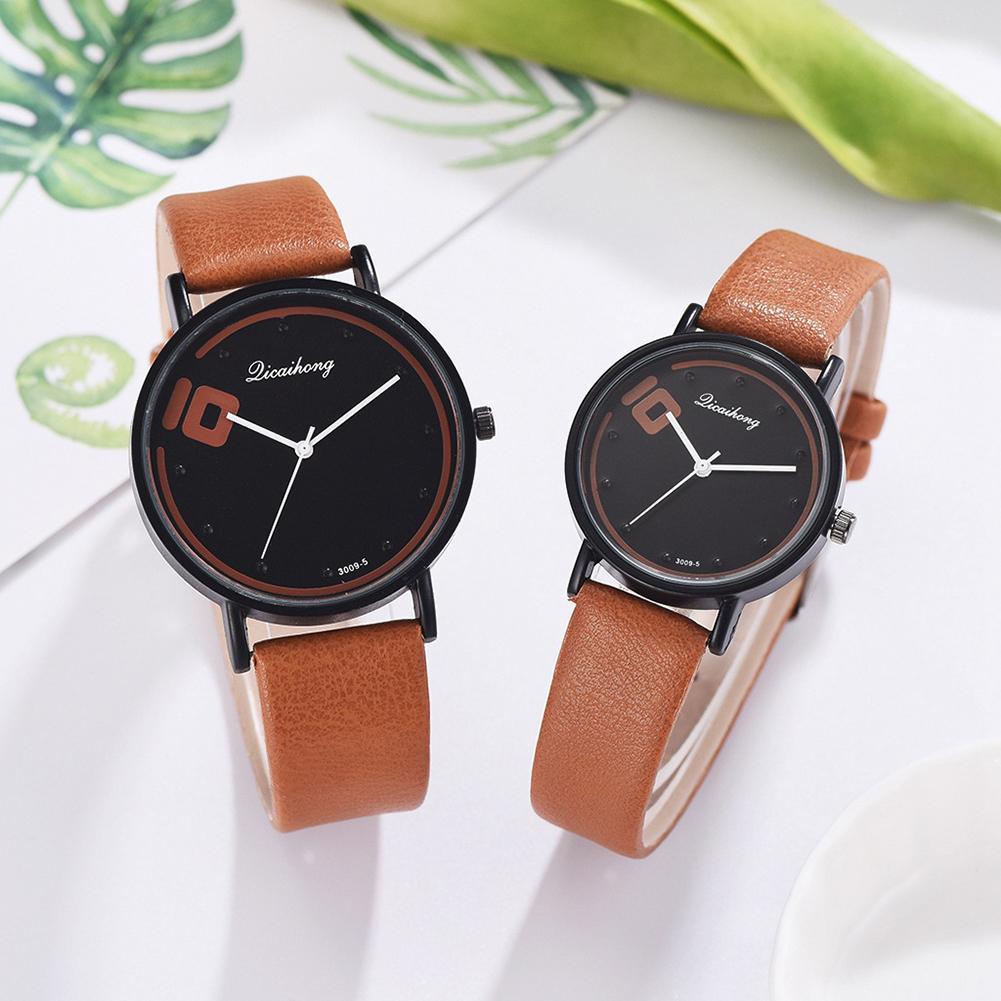 Simple Men Women Unisex Watch Faux Leather Strap Analog Round Dial Faux Leather Band Fashion Couple Quartz Wrist Watch