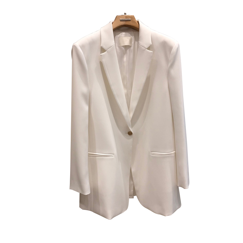 Stylish Loose Ladies Blazer Simple Solid White Casual Suit Jacket Blazer Lentejuela Mujer Korean Spring Women Blazer MM60NXZ