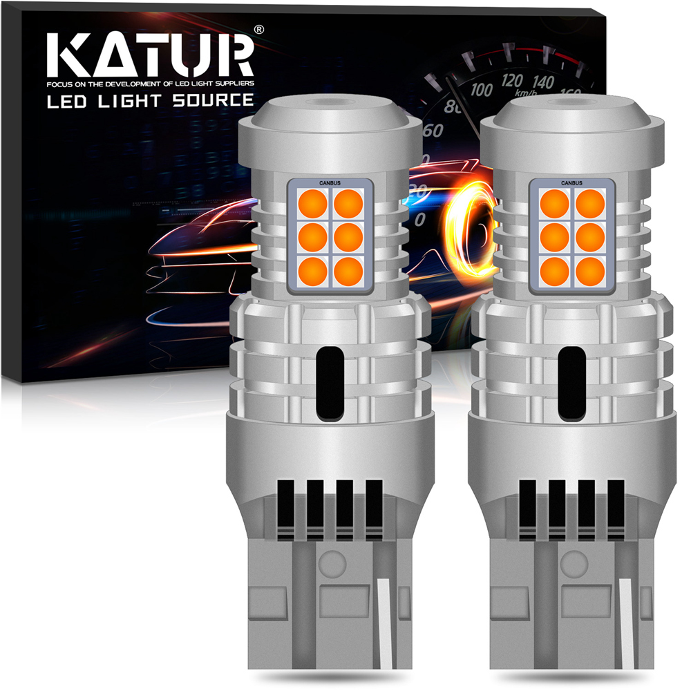 2X <font><b>T20</b></font> LED 7443 SRCK No Hyper Flash 1156 P21W BA15S LED Auto Turn Signal Lights No Error T25 3157 P27/7W Led Bulb Amber Yellow image