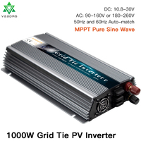 1000W On Grid Tie Solar Inverter 18/36V DC to AC 110/220V Micro Inversor Pure Sine Wave Inverter for 1000 1200W 36/60/72 Cells