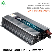 MPPT 1000W On Grid Tie Solar Inverter 18/36V DC to AC 110/220V Micro Inversor Pure Sine Wave Inverter for 1000W 36/60/72 Cells