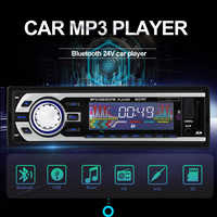 For 12V and 24V Autoradio car Audio Player 1 DIN Car Radio Kits Stereo FM Tuner Bluetooth AUX MP3 SD USB Car-Charger