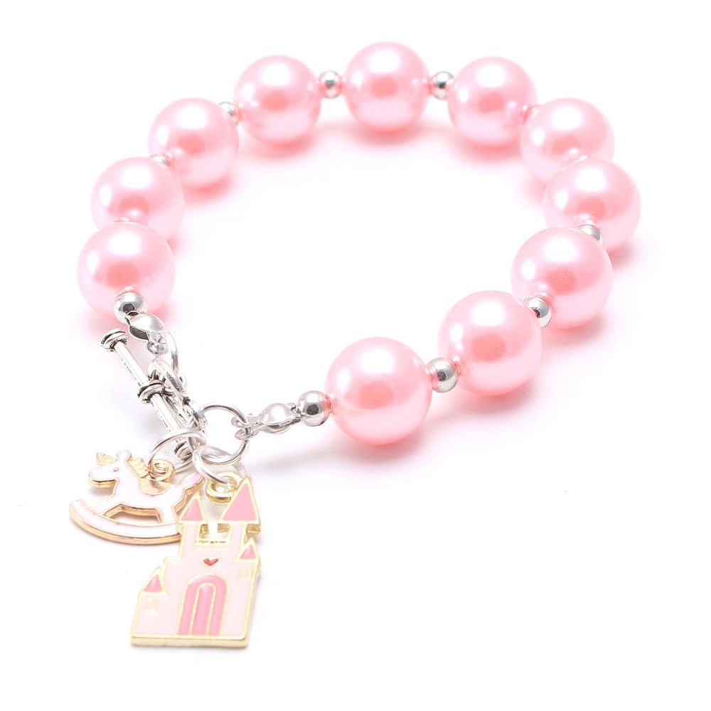 Girls Baby ABS Pearls Beads Bracelet With Starfish Pendants Fashion Color DIY Beautiful Beaded Bracelets For Children Kids Gift