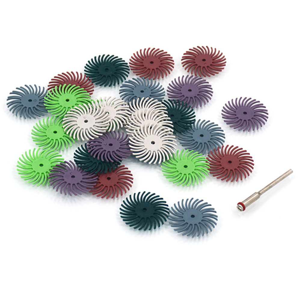 26pcs 2mm Radial Bristle Disc Brush Assortment 80/120/220/320/400/600/1000/2500 Grit Nylon Disc With Stainless Steel Handle