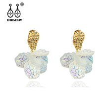 DREJEW Elegant White Gold Silver Flower Statement Earrings 2019 925 Crystal Drop Earrings Sets for Women Wedding Jewelry HE6811 серьги evora 633693 e