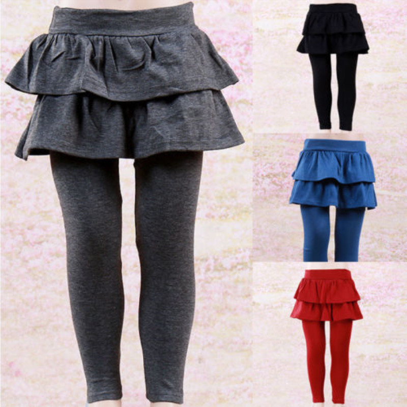 Warm Kids Girls Culottes Culottes Leggings With Ruffle Tutu Skirt Pants Pantskirt Winter Autumn 2-8Y Children Clothing