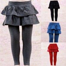 Ciepłe dzieci dziewczyny Culottes Culottes legginsy z wzburzyć Tutu spódnica spodnie Pantskirt zima jesień 2-8Y odzież dla dzieci