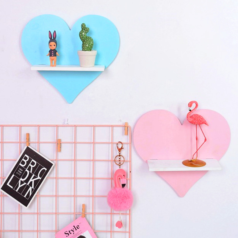 26cm Wall Shelf  Love Heart Wood Hanging Holder for Kids Room Shelf Baby Shower Room Accessories Decorative Shelve AP207