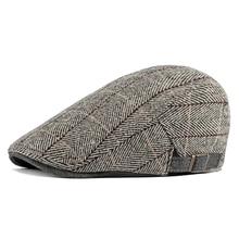 Твидовая кепка газетчика мужская шерсть елочка плоская кепка зимняя серая полосатая Мужская кепка в британском стиле Кепка-восьмиклинка Регулируемый головной убор