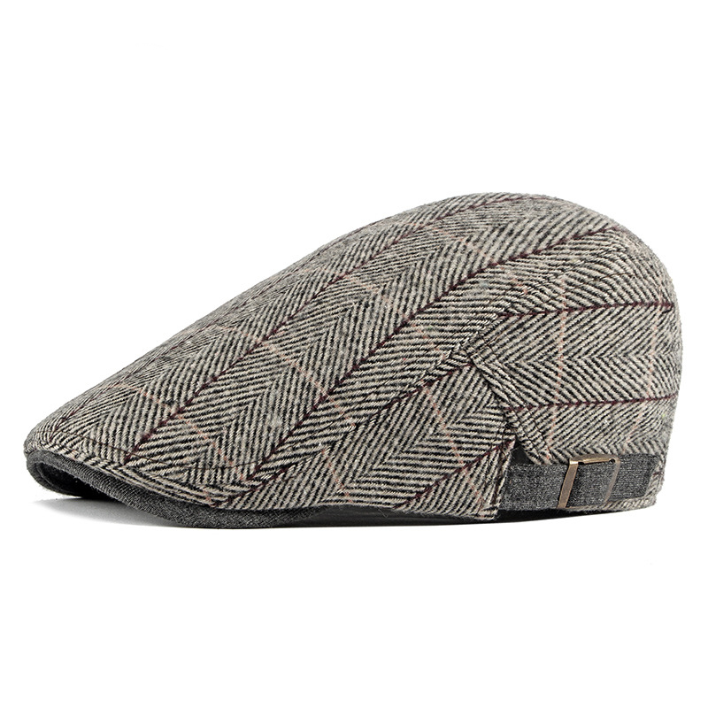 Tweed Newsboy Cap Men Wool Herringbone Flat Cap Winter Grey Striped Male British Style Gatsby Cap Hat Adjustable