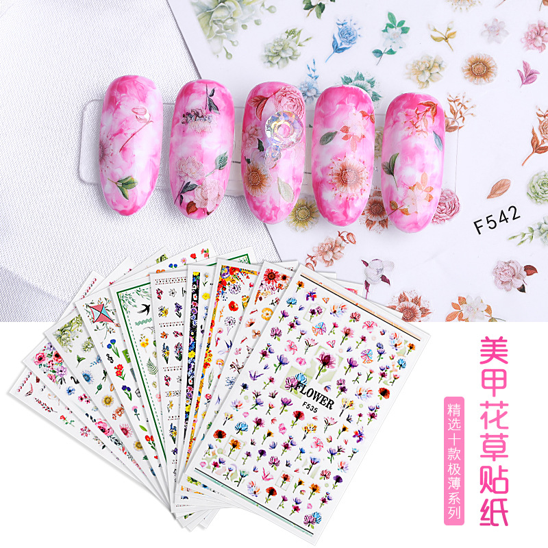 New Style Nail Sticker Patch Children Non-toxic 3D Flower Nail Sticker Stick Completely Nail Sticker Flower Stickers