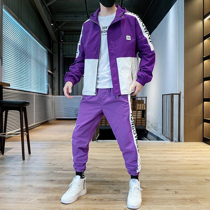 Spring And Autumn Sports Jacket Set Men Casual Men Summer Polyester Tracksuit Hip Hop Track Suit Pants Men 2 Piece Set HH50TZ