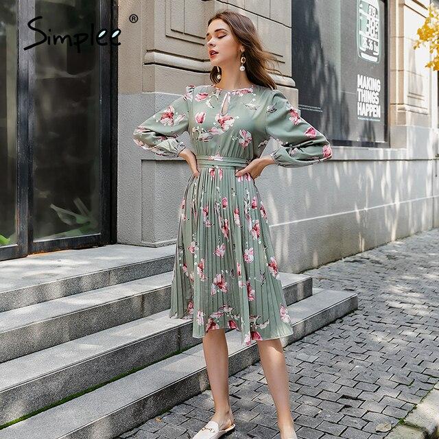 Simplee Elegant floral print long dress women round neck long sleeve ruffled holiday dress middle waist autumn winter dresses 4