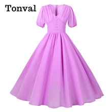Tonval Lavender Ruched V-Neck Buttons Pleated Midi Chiffon Dresses for Women Elegant Party High Waist Vintage Long Dress