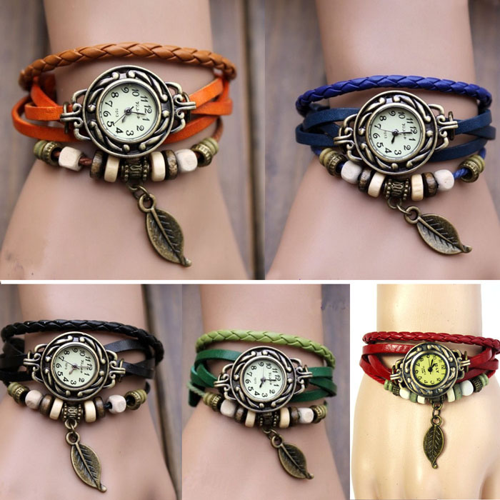 Womens Bracelet Weave Wrap Quartz Leather Leaf Beads Wrist Watches Zegarki Damskie HOT SALE Relojes Mujer Quartz Watch Femme Fi