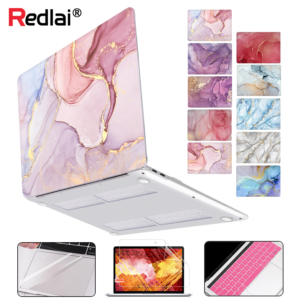 Redlai für <font><b>MacBook</b></font> Air 13 zoll Fall 2018 Pro Retina 12 13,3 <font><b>15</b></font>,4 Touch Bar Geometrie Marmor Hard Shell Hülse + tastatur Abdeckung image