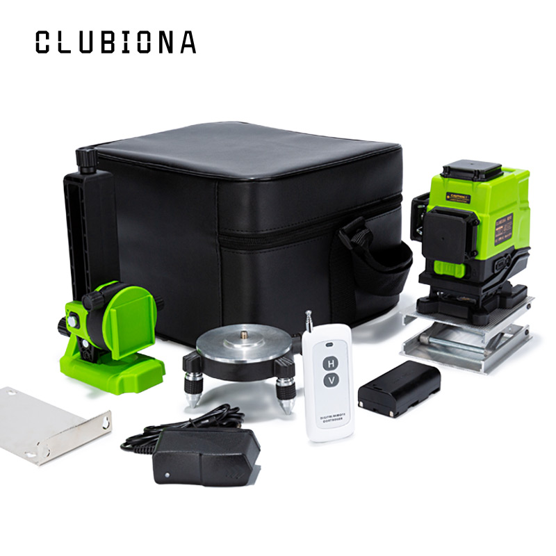 Clubiona IE12  German laser module Floor and wall Powerful Green Lines Remote control 3D Laser Level With Li ion battery Laser Levels    - AliExpress