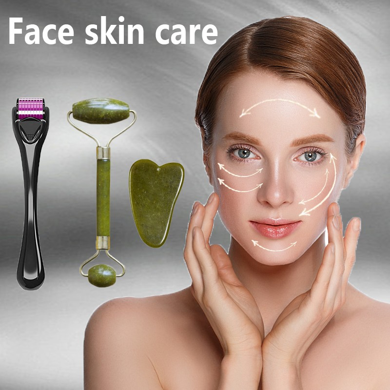 Facial Massage Roller Guasha Board Double Heads Jade Stone Face Lift Body Skin Relaxation Slimming Beauty Neck Thin Lift