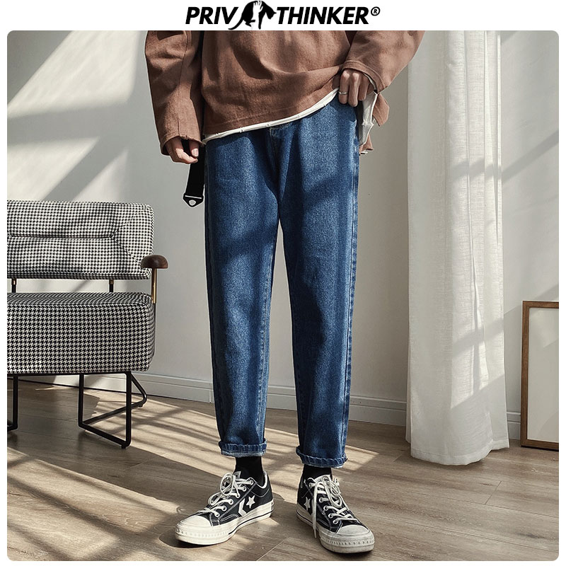 Privathink Solid Color Men's Blue Harem Jeans 2020 Korean Man Slim Black Ankle Length Pants Men Casual Denim Pants 5XL