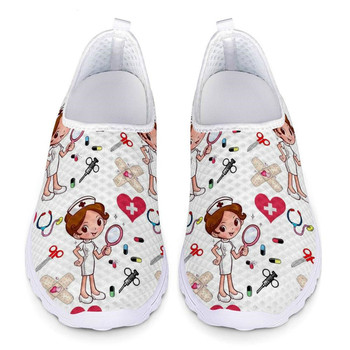 New Cartoon Nurse Doctor Print Women Sneakers Slip On Light Mesh Shoes Summer Breathable Flats Shoes Zapatos planos instantarts summer sneakers nurse flats shoes 3d cartoon nursing print women casual lace up mesh walk sneakers zapatillas mujer