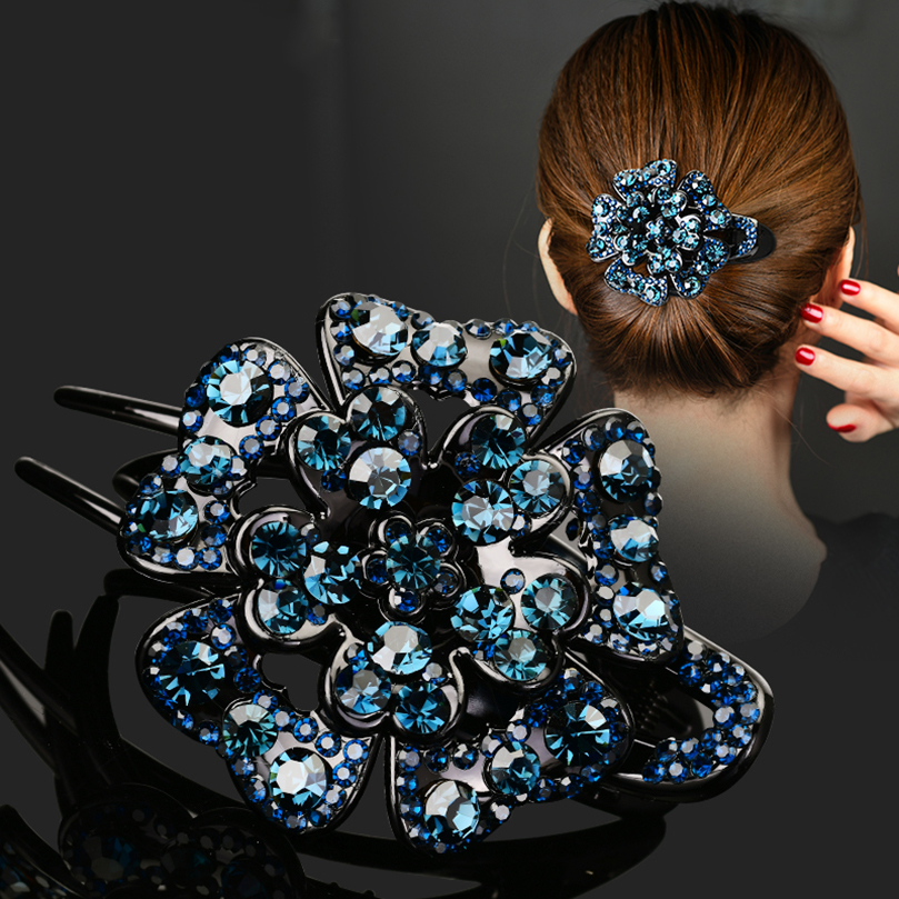 AWAYTR Korean Rhinestone Hairpin Women Hair Clips Female Elegant Duckbill Clip Beads Hairgrip Fashion Hair Accessories