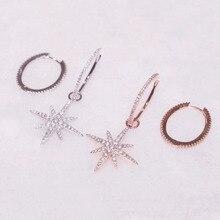 SLJELY Fashion Solid 925 Sterling Silber Big Hoop Fein Sterne Asymmetrische Ohrringe Micro Zirkon Steine Frauen Marke Schmuck