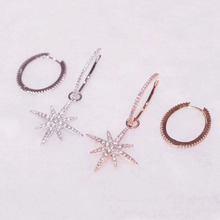 SLJELY moda solidna 925 Sterling Silver Big Hoop Fine Star asymetryczne kolczyki Micro cyrkon kamienie kobiety biżuteria marki