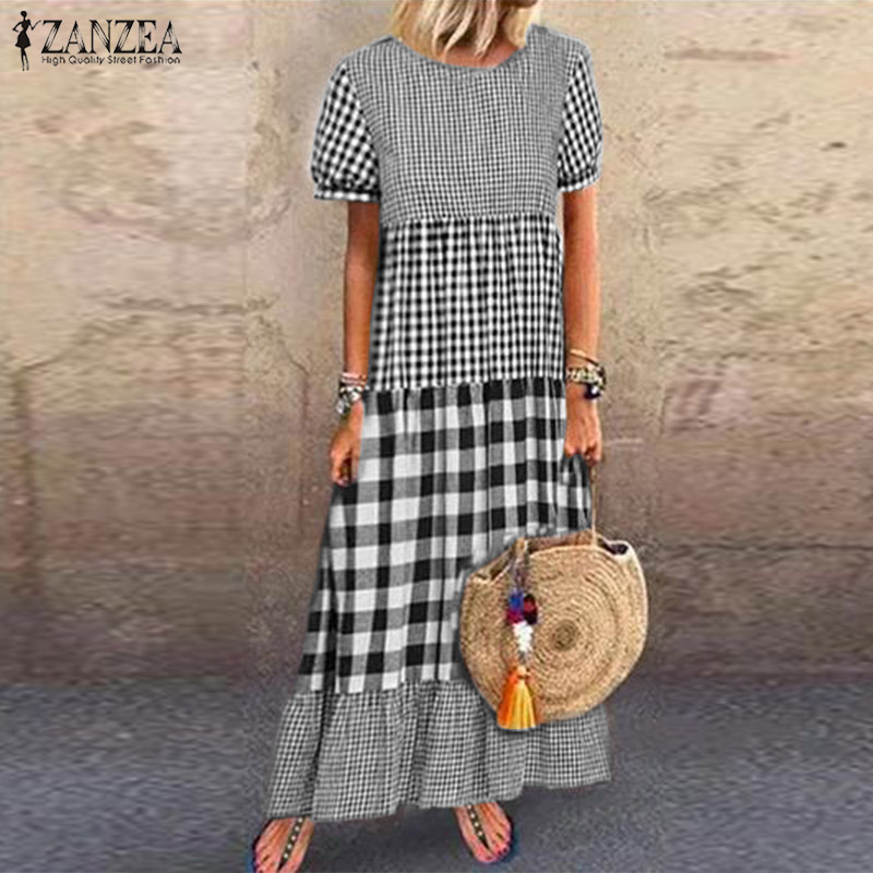 ZANZEA Women Short Sleeve Plaid Checked Dress Vintage Summer Sundress Casual Pacthwork Kaftan Party Vestido Robe Femme Dresses