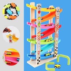 Деревянный 7-слойная скользящая машинка Игрушки для раннего обучающая лестница скользящая игрушка планер инерционная орбитальный шкив с 8
