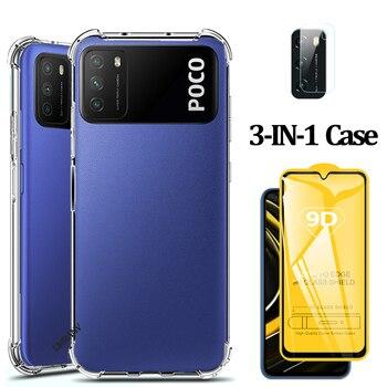 Clear,Xiaomi Poco M3 Anti-Shock Cover Xiaomi Redmi M3 Poco X3 Silicone Cover Xiomi Xiami M 3 Phone Case for Poco M3 Smartphone