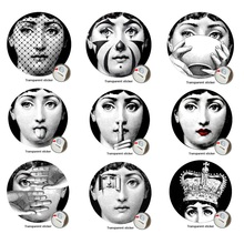 9 Pieces Milan Designer Fornasetti Plates Pattern Wall Sticker Fashion Art Decorative DIY Wallpaper 8 Inch