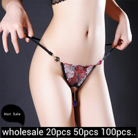 Wholesale Sexy Simple Private Underwear Thong Panties Lace Floral Pendant Sexy Panties Erotic Elasticity Body Jewelry For Couple