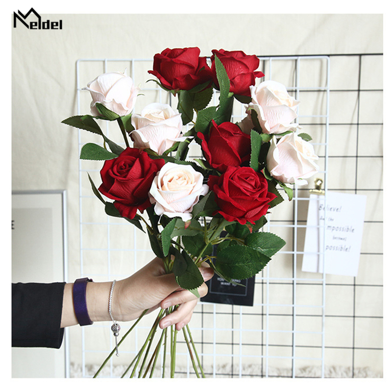 Meldel 1 Single Branch Long Rose Artificial Flowers DIY Silk Fake Flower Bouquet Flores For Party Home Garden Wedding Decoration