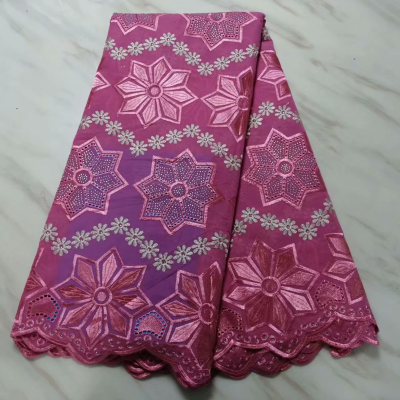 Best Selling Copy Cotton Pink African Wax Lace Fabrics 2020 Embroiderey Guipure Nigerian Beaded Lace Fabric For Wedding Dress