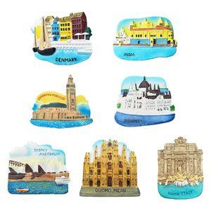3D World Travel European Famous Building Fridge Magnet Stickers Refrigerator Magnetic DIY Home Decor Message Holder Souvenir