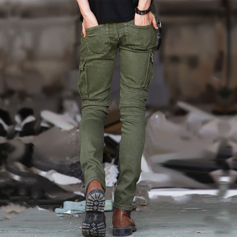 Fashion Motor Biker Skinny Mens Pants Zipper Pleated Cargo Pants Army Green Slim Fit Male Stretchy Military Tactical Trousers