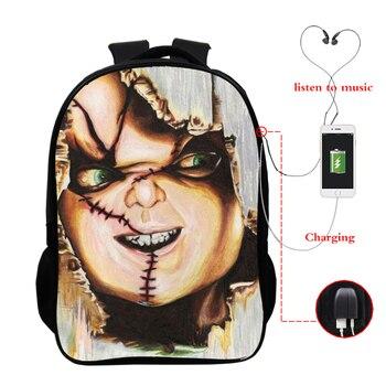 цена на Horrible Killers Bookbag Chucky Jason Freddy Nun Back To School Bag Teenager Backpack Travel Rucksack Backpacks Bag with Charger