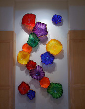 лучшая цена Hotel Wall Art 100% Hand Blown Murano Glass LED Wall Lamps