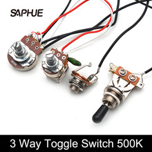 Toggle-Switch Guitar Big-Pots 3-Pickups B500K with Output-Jack 1V1T 3-Way Wiring-Harness