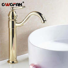Free shipping luxury new style bathroom basin sink faucet mixer tap golden color  hand wash toilet 6633K